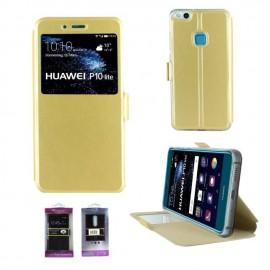 Etui portefeuille Or avec fenêtre pour Huawei P10 Lite