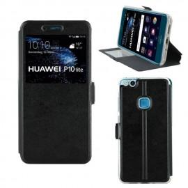 Etui portefeuille Noir avec fenêtre pour Huawei P10 Lite