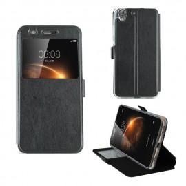 Etui portefeuille Noir avec fenêtre pour Huawei Y6 II