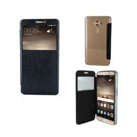 Etui portefeuille Noir avec fenêtre pour Huawei Mate 9