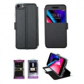 Etui portefeuille Noir avec fenêtre pour iPhone 8