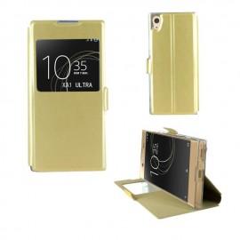 Etui portefeuille or avec fenêtre Sony Xperia XA1 Ultra