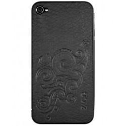 Zagg Leather Skins Black embossed Finish - Protection arrière et côtés en cuir pour iPhone 4
