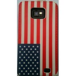 Housse cuir drapeau USA pour Samsung Galaxy S2