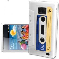 Coque K7 cassette retro blanche pour Samsung Galaxy S2