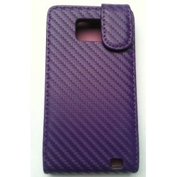 Housse pour Samsung Galaxy S2 violet style carbone