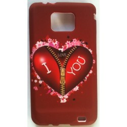 Coque i Love You en silicone pour Samsung Galaxy S2 i9100