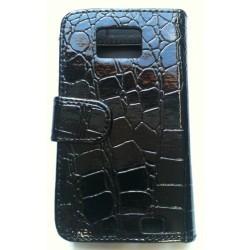 Housse - Etui noir cuir Croco pour Samsung Galaxy S2 i9100