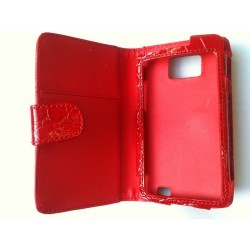 Etui cuir croco rouge pour Samsung Galaxy S2