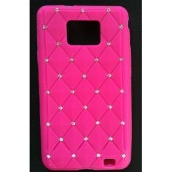 Coque silicone rose avec Strass pour Samsung Galaxy S2 i9100