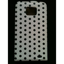 Housse blanche à pois noirs Samsung Galaxy S2 i9100