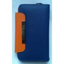 Etui Luxe en cuir pour Samsung Galaxy S2 - couleur bleu (portefeuille)
