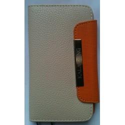 Etui portefeuille cuir luxe Blanc/beige pour Samsung Galaxy S2