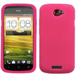 Coque rose en silicone HTC One S