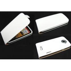 Housse à rabat blanche en cuir pour HTC One X -