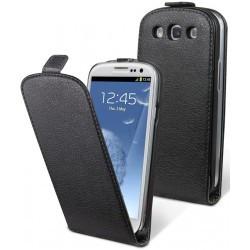 Housse noire cuir pour Samsung Galaxy S3 / étui Galaxy SIII