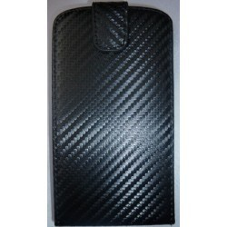 Etui noir carbone à rabat pour Samsung Galaxy SIII