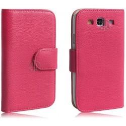 Housse portefeuille rose pour Samsung Galaxy S3