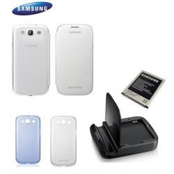 Pack Samsung Galaxy S3 avec une station de charge, une batterie, un étui d'origine et 2 coques silicones