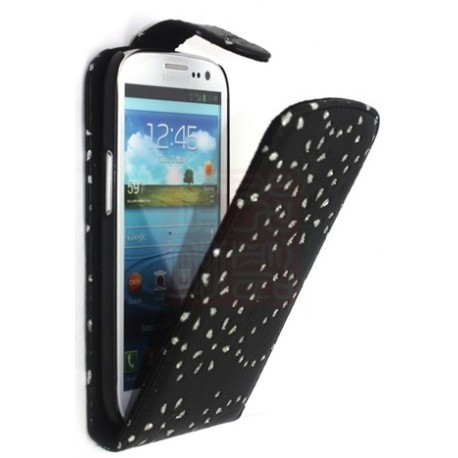 Etui strass diamants noir pour le Samsung Galaxy S3 - Housse diamants/motif fleur