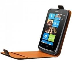 Etui portefeuille cuir noir Nokia Lumia 610