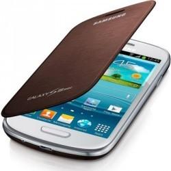 Housse marron intégrée origine Samsung Galaxy S3 Mini