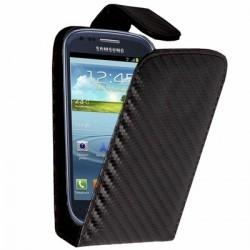 Housse à rabat noire style carbone pour le Samsung Galaxy S3 mini