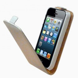 Etui luxe cuir blanc swiss charger pour iPhone 5