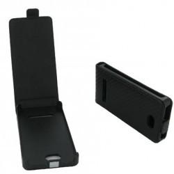 Housse à rabat noire style carbone pour HTC Windows Phone 8S