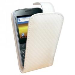 Etui style carbone blanc à rabat pour Samsung Galaxy Y Pro