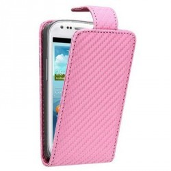 Etui fibre carbone rose pour Samsung Galaxy S3 mini