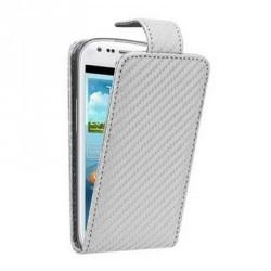 Etui à rabat blanc fibre carbone pour Samsung Galaxy S3 mini
