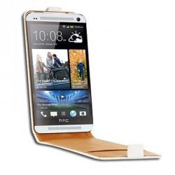 Etui coque à rabat luxe cuir blanc pour HTC One