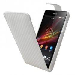 Housse blanche carbone pour le Sony Xperia Z