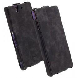 Etui rabat ultra-fin Krusell cuir vintage noir Sony Xperia Z