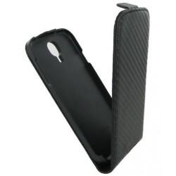 Etui coque à rabat style carbone noir pour le Samsung Galaxy S4