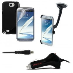 Pack voiture (Support voiture +Chargeur allume cigare + Coque + Film) pour Samsung Note 2