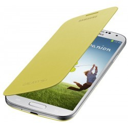 Housse coque intégrée Flip Cover Jaune d'origine Samsung Galaxy S4