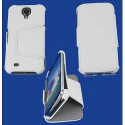 Housse portefeuille latérale avec support pour Samsung Galaxy S4 - couleur blanc