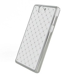 Coque blanche strass incrustée diamants pour Sony Xperia Z