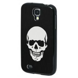 Coque Aluminium brossé noir Tête de mort pour Samsung Galaxy S4