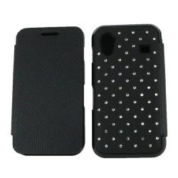 Housse strass portefeuille pour Samsung Galaxy Ace - couleur noir