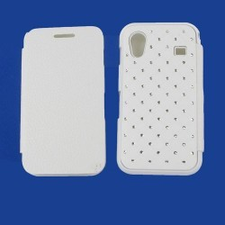 Housse poertefeuille strass diamants blanche pour Samsung Galaxy Ace