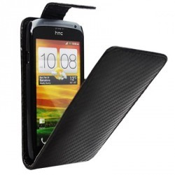 Housse style carbone noire HTC One