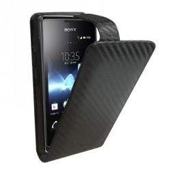 Etui style carbone à rabat pour le Sony Xperia E
