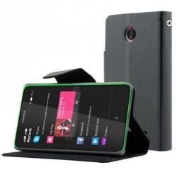 Etui folio simili noir STAX pour Nokia-X