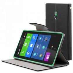 Etui folio simili noir STAX pour Nokia-XL