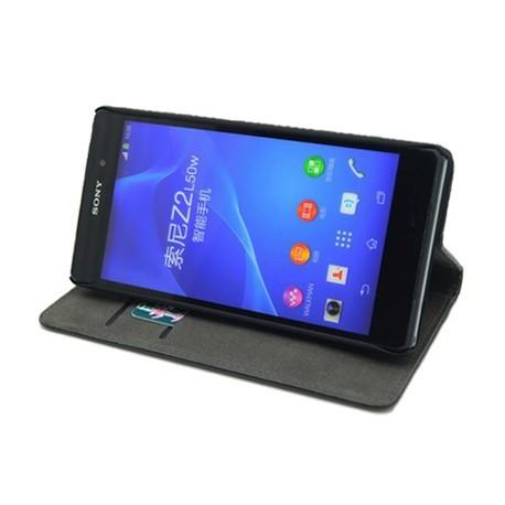 Etui folio simili noir STAX pour Sony Xperia-Z2