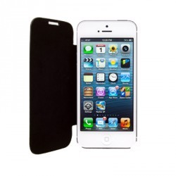 Etui Folio Rabat Simili Noir pour IPhone 5/ 5S