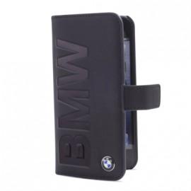 Etui Folio Cuir Noir Logo Embossé BMW pour I-Phone 5/ 5S